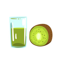 Kiwi fruit juice glass of natural vegetarian vector