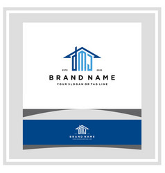 Letter dmj home roof logo design and business card vector