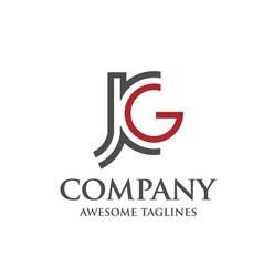 letter j and g j g letter jjg letter vector image