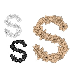 Letter s with vintage floral motifs vector