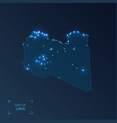 Libya map with cities luminous dots - neon lights vector
