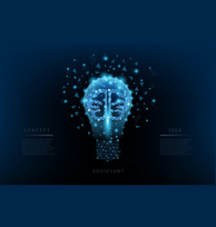 light bulb triangles and luminous brain and vector image