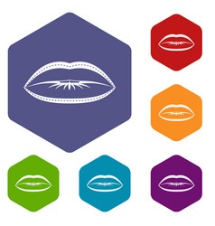 lips with lines drawn around it icons set hexagon vector image