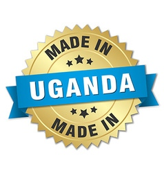 made in Uganda gold badge with blue ribbon vector image