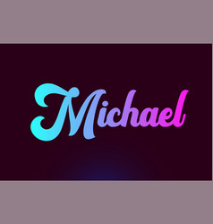 Michael pink word text logo icon design vector