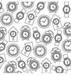 Monochrome pattern with clock models vector