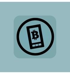 Pale blue bitcoin screen sign vector