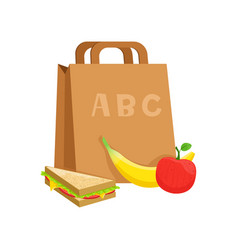 Paper bag with sandwich banana and apple school vector