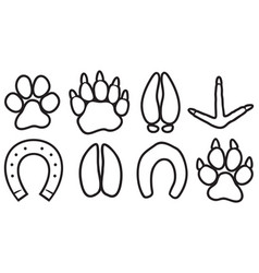 paw prints icons set vector image