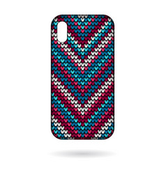 Phone cases knitting lines pattern vector