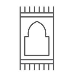 Prayer carpet thin line icon arabic and rug vector
