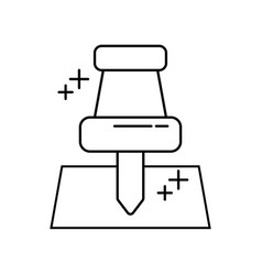 push pin element office line icon style vector image