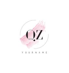 Qz q z watercolor letter logo design vector