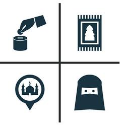 ramadan icons set collection of prayer carpet vector image