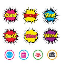 sale speech bubble icons buy now arrow symbol vector image