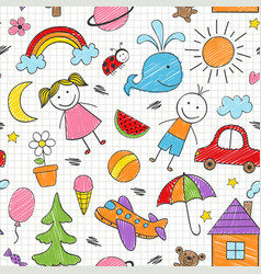 Seamless pattern with colored kids drawings vector