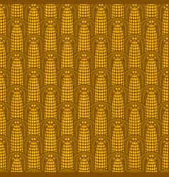 seamless pattern with golden ears corn vector image