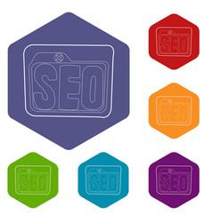 Seo icons hexahedron vector