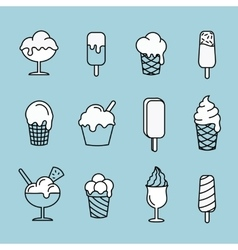 Set line icons Ice cream Dessert sweet food vector