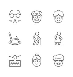 set line icons older people vector image
