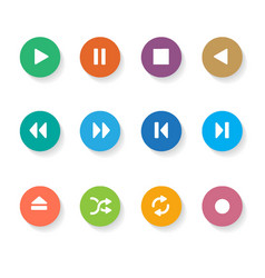Set of 12 circle media buttons vector