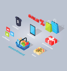 Set of electronic commerce flat and shadow theme vector