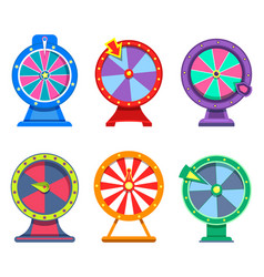 set of isolated wheels of fortune for casino vector image