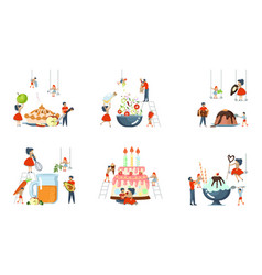 set of oversize dish and tiny people cooking vector image