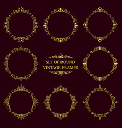 Set of round classic vintage frames vector