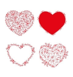 Set of stencil hearts for design vector image