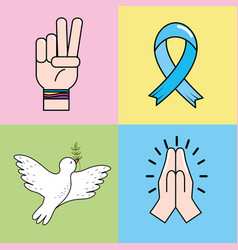 Set peace hand symbol to global harmony vector