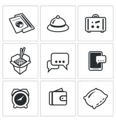 Set travel icons visa hotel baggage vector