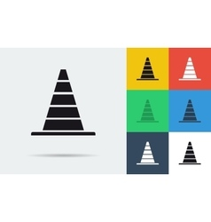 Seven flat icons of parking cones vector