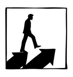 silhouette businessman walking on two arrow vector image