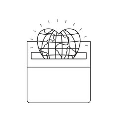 Silhouette front view flat globe earth world in vector