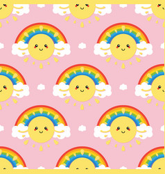 Smiling sun character rainbow and cloud pattern vector