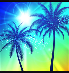 summer background with palm silhouettes vector image