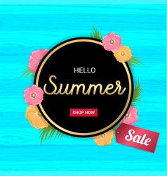 summer flowers gold frame or summer floral design vector image