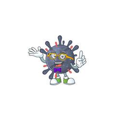 Super funny coronavirus epidemic in nerd mascot vector