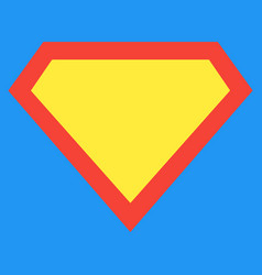 superhero shield shape on blue background vector image