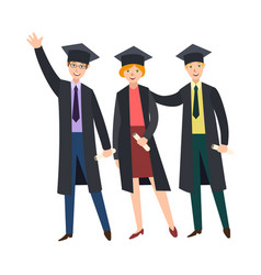Three college graduates in graduation caps gowns vector