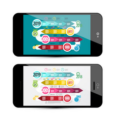 timeline infographoc on mobile phone screen vector image