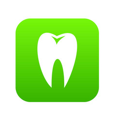 Tooth icon digital green vector
