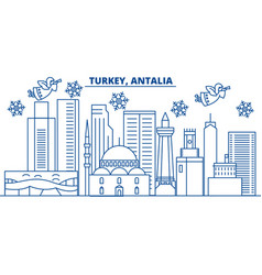 turkey antalia winter city skyline merry vector image