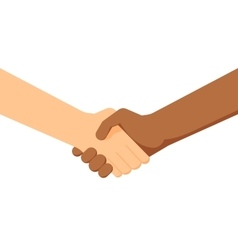 two people shaking hands White and black people vector image