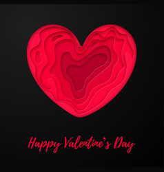 Valentines day card with papercut heart on white vector