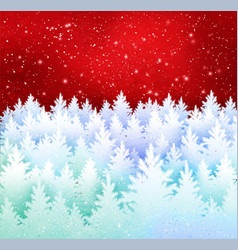winter landscape red and white background vector image