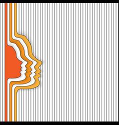 woman face orange silhouettes vector image