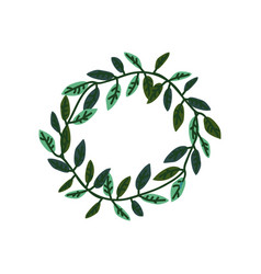 wreath green leaves with place for text vector image