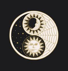 Yin yang symbol with sun moon stars and cobweb vector
